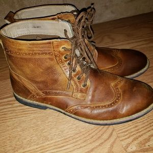 Kunsto Men's Leather Classic Brogue Boots Size 12